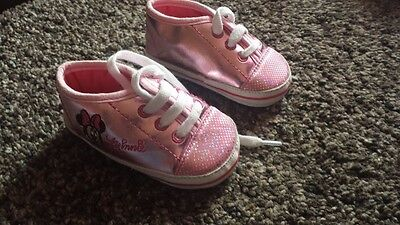 Shiny pink Minnie pram shoes 3-6 months brilliant condition