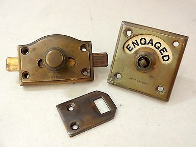 Old Edwardian Vacant Engaged Toilet Bathroom Lock Bolt Indicator Door