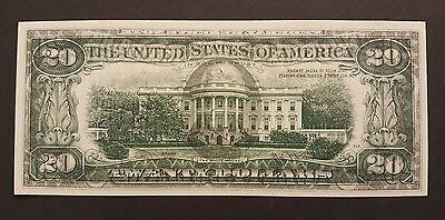 (FULL FACE TO BACK OFFSET PRINTING ERROR) 1974 $20 Note, BEP Rejection Marking