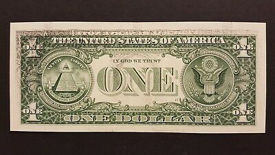 (COOL ERROR) 1999 $1 Note w Partial Wet Ink Transfer & Ink left by Roller Guides