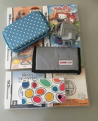 White Nintendo DSi With 6 x Games , Cath Kidston Case, and games wallet