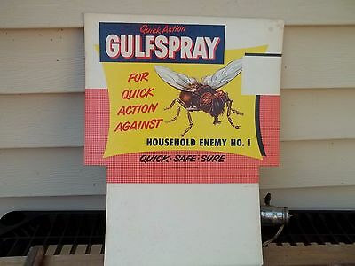 Old 1951 Cardboard Store Display Advertising Sign Gulf Spray Insect Fly FREE