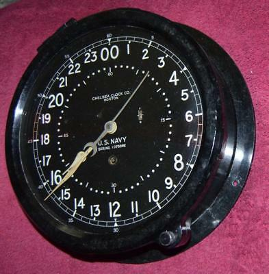 """Antique Original Chelsea Ships Clock With 24 Hour 8 1/2"""" Dial, Run Great"""
