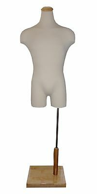 Male Display Form Mannequin with Wood Neck Block and Base - Free Shipping!