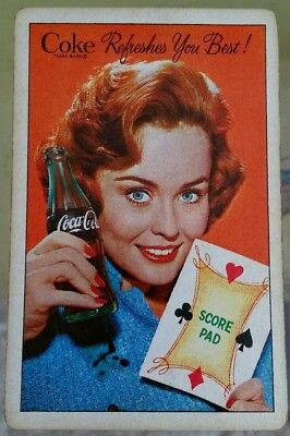 "Vintage Coke Coca-Cola ""Refreshes You Best!"" Playing Cards Deck, Bridge Size, VG"