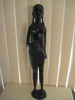 "Vintage African Woman Hand Carved Wooden Statue, 25"" T X 5"" W, 6 Lbs (Rare)"