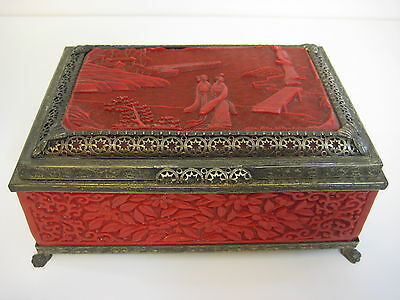 "Vintage Chinese Red Cinnabar  & Metal Footed Jewelry Box, 8"" x 5"" x 3 1/3"" High"