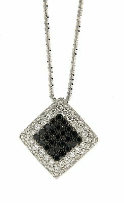 Gioielli Preziosi SQUARE SHAPE WHITE GOLD NECKLACE WITH WHITE AND BLACK DIAMOND