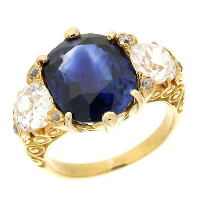 Jewelery VINTAGE SAPPHIRE OVAL RING WITH DIAMOND IN YELLOW GOLD