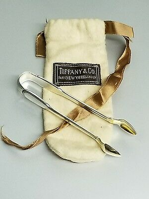 "Tiffany & Co Sterling Silver ""Sugar Cube"" Tongs w/Original BROWN bag! Pat 1921 M"