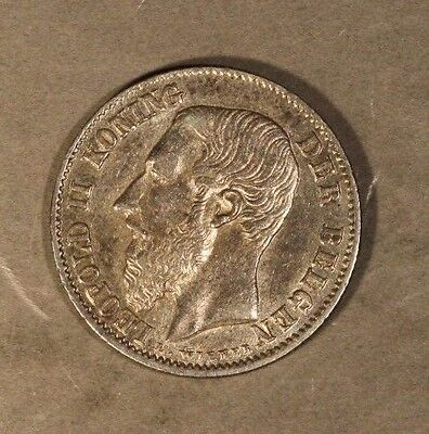 1899 Belgium 50 Centimes High Grade Silver Luster  ** FREE U.S. SHIPPING **