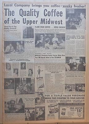 1951 full page newspaper ad for Flame Room Coffee - Quality Coffee Upper Midwest