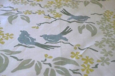 HEAVENLY HIGH END DECORATOR PRINTED LINEN w/ BLUE BIRDS SS902