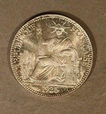 1925A French Indo China 10 Cents Silver Very High Grade   ** FREE US SHIPPING **