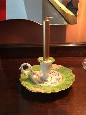 ANTIQUE  Russian Imperial Kornilov Porcelain CANDLE HOLDER Gilded RARE, MINT!