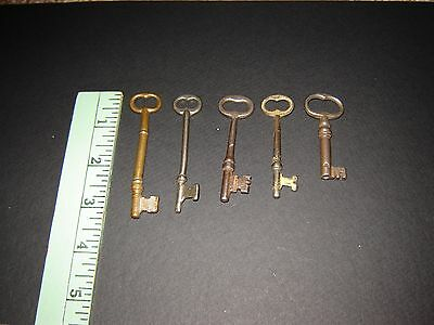 Five Vintage Mortise Lock Skeleton Keys Antique Vintage Door Keys Steampunk A