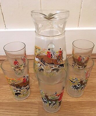 Vintage Hunting Glass Water Jug And 5 Glasses