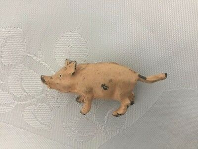 Very Cute Antique Vintage Cold Painted Bronze Pink Pig