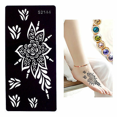 Flowering Spray Hand Leg Black Henna Art Stencils