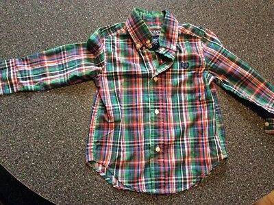 CHAPS Toddler Boys New No tag Size 2T Plaid Button Down Long Sleeve Shirt