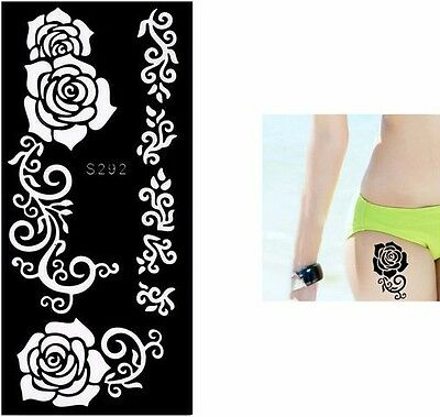 Flower Tattoo Stencil Painting Templates Mehndi Henna Temporary Airbrush Tattoo
