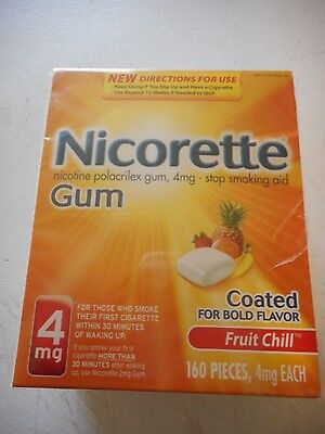 NICORETTE GUM- 4mg BOLD FLAVOR 160 PIECES FRUIT CHILL-  SEALED BRAND NEW!!!