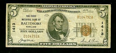 1929 $5 Brown Seal, National Currency Small Size Bank of Baltimore        m