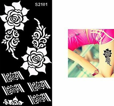Rose Black Pattern Temporary Tattoo Henna Henna Inks Stencils Reusable Template