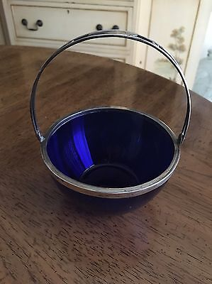 Vintage Colbolt Blue 800 German Silver candy dish/berry dish