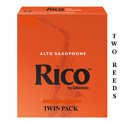 Twin pack Rico Orange Alto Saxophone 2 Reeds Strengths 1.5 2 2.5 3 3.5 Free Del