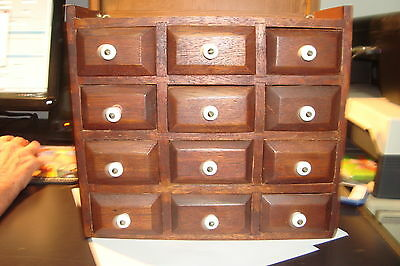 Vintage Wooden Spice Rack Apothecary Cabinet w/12 drawers & white handles