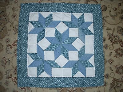 vintage hand crafted table top quilt wall hanging blue white star pinwheel