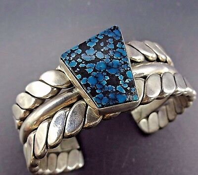Heavy Signed Vintage NAVAJO Sterling Silver & Spiderweb TURQUOISE Cuff BRACELET