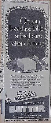 1951 newspaper ad for Franklin Co-Operative Creamery - Fresh churned Butter