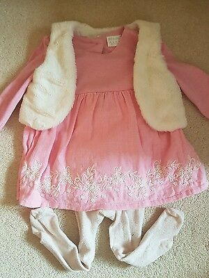 Baby girl outfit dress & gilet 6-9 months