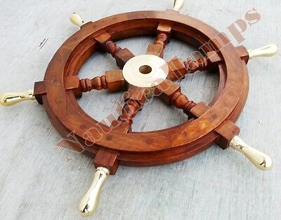 "Vintage Style Nautical Ship Decor Boat Wheel 18"" Wooden Brass Centre 6 Handle"