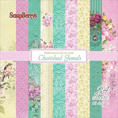Scrapbooking Crafts 6X6 Paper Pack Cherished Jewels Flowers Roses Birds Pastels