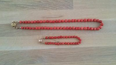 Victorian Great Antique Red/salamon Coral Necklace And Bracelet Beads.