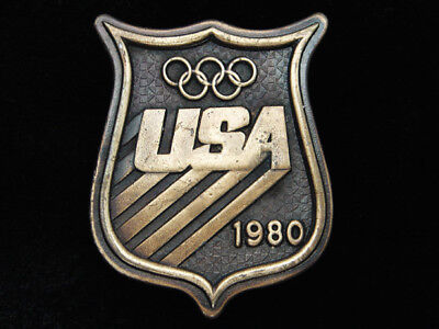 Qg23148 Vintage 1980 **usa Olympics** Sports Commemorative Belt Buckle