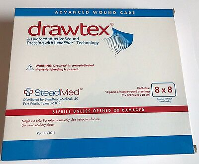 "Drawtex SteadMed Levafiber 8"" X 8"" Box Of 10 Dressings Wound Care Sterile NEW"