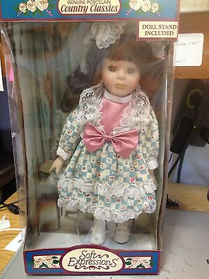 """SOFT EXPRESSIONS """"COUNTRY CLASSICS"""" PORCELAIN DOLL--NEW IN BOX-------------jw"""