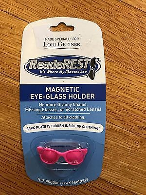 ReadeREST Magnetic Eye-Glass Holder, pink, shape of glasses, new in packaging