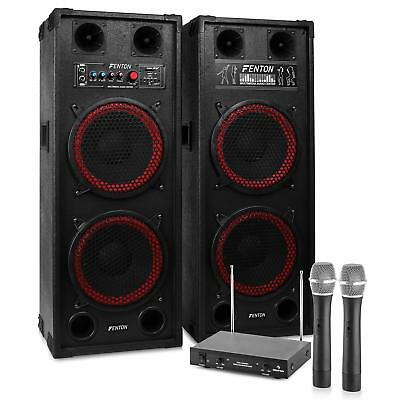 KARAOKE PARTY ANLAGE DJ PA LAUTSPRECHER SET 2x WIRELESS MIC USB SD MP3 1200W