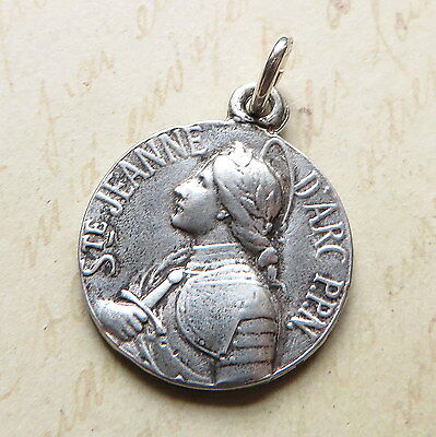 St Joan of Arc with Sword Medal - Sterling Silver Antique Replica