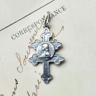 St Joan of Arc Lorraine Cross - Sterling Silver Antique Replica