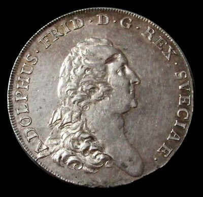 1770 Al Silver Sweden 3 Daler (Riksdaler) Adolf Frederick About Unc Condition