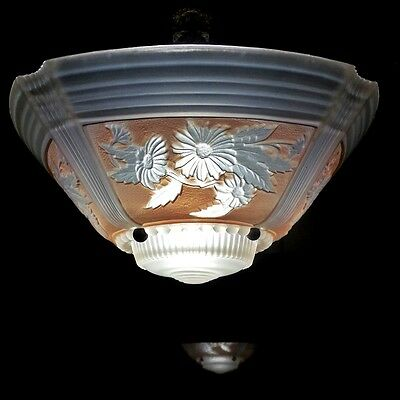 AWESOME 1930's VINTAGE ART DECO ANTIQUE Ceiling Light Fixture CHANDELIER