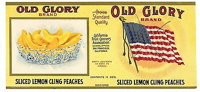 OLD GLORY Brand, American Flag *AN ORIGINAL 1910's TIN CAN LABEL* H26, wear
