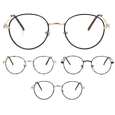 Classic 90s Metal Rim Round Oval Clear Lens Eye Glasses Frame