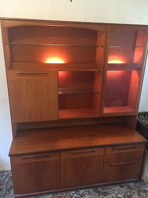 Large Retro G-plan Style Lit Sideboard Unit Dresser Lights